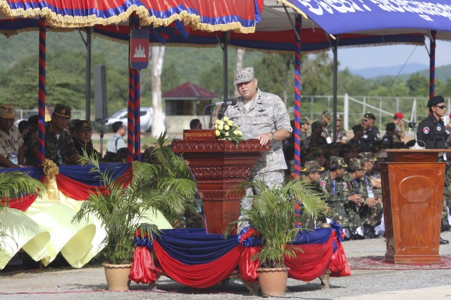 Maj. General Peter Pawlings, deputy commander, U.S. Pacific Command, speaks at the Angkor Sentinel 2010 opening ceremony July 17. Angkor Sentinel is a multinational training exercise supporting peace-support operations co-sponsored by the Royal Cambodian Armed Forces, U.S. Pacific Command and U.S. Army, Pacific.