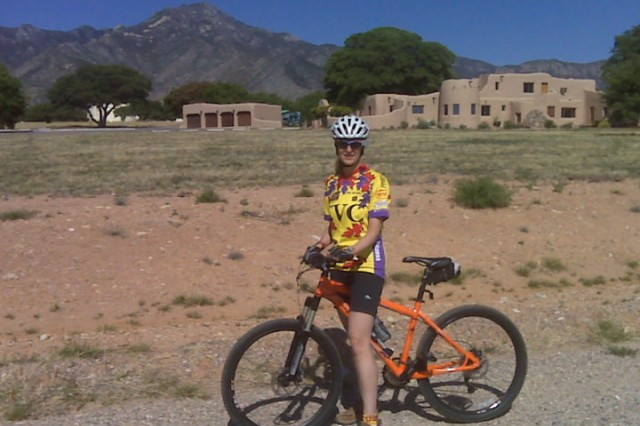 Liza Weissler stops for a rest near Fort Huachuca, Ariz., while earning her virtual miles towards completion of the Software Engineering Center Director's Wellness Challenge.