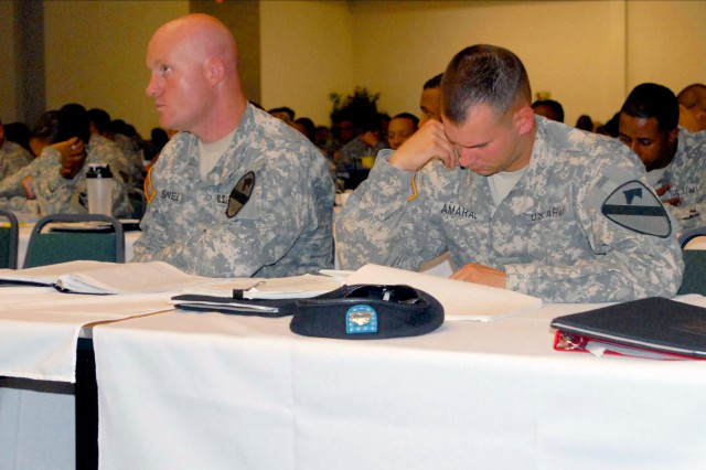 Approximately 400 retention noncommissioned officers from the 4th Sustainment Brigade, 13th Sustainment Command (Expeditionary), and other III Corps units crowded inside the ballroom at the Plaza Hotel in Killeen, Texas for a 40-week Mobile Retention training July 12 - 16. (U.S. Army photo by Pfc. Amy M. Lane)