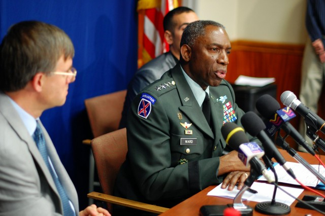 Gen. William Ward, commander of U.S. Africa Command, and U.S. Ambassador to Tunisia Gordon Gray speak with reporters June 1, 2010, at a news conference at the U.S. Embassy. As U.S. Africa Command matures and strengthens ties with African nations, American interests on the continent become more stable.