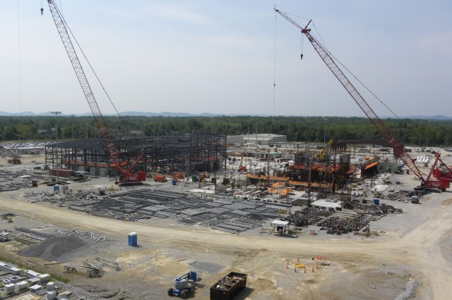 This site photo was taken in early July 2010 and illustrates the size and complexity of the Blue Grass Chemical Agent-Destruction Pilot Plant construction site.