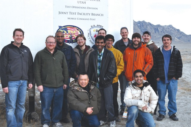Members of the Lethal Unmanned Aerial Systems Team pose for a photo after successfully completing a live-fire demonstration at Dugway Proving Ground, Utah. The team includes personnel from the Army's Armament Research, Development and Engineering Center (ARDEC), Dugway Proving Ground, Latitude Engineering and RCAT Systems.