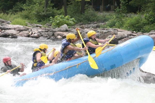 Ten Soldiers and civilians with Outdoor Recreation spent more than three hours on the Ocoee River rapids July 18 in Tennessee.