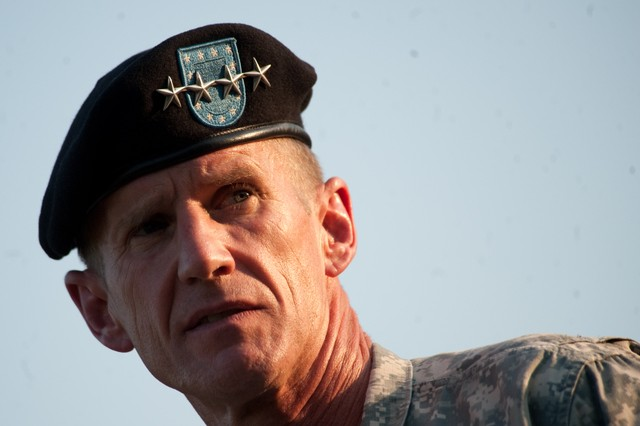 Gen. Stanley A. McChrystal addresses the audience during his retirement ceremony on Fort McNair in Washington, D.C., July 23, 2010. McChrystal retired from the U.S. Army after 34 years of service to his nation during both peace and war time.