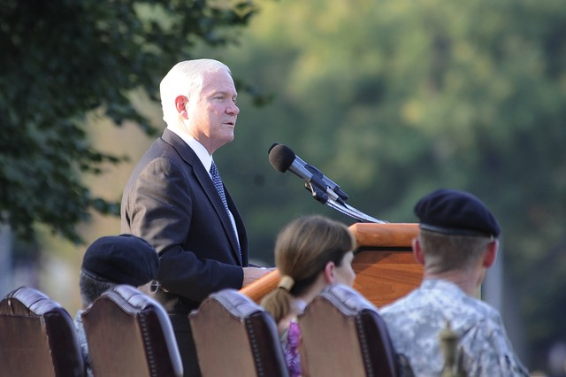 Secretary of Defense Robert Gates addresses the audience during the retirement ceremony for Army Gen. Stanley A. McChrystal at Fort McNair in Washington, D.C., July 23, 2010.  McChrystal was lauded as a true warrior, scholar and statesman and an expert at irregular warfare, hybrid warfare, counter-insurgency and counterterrorism.