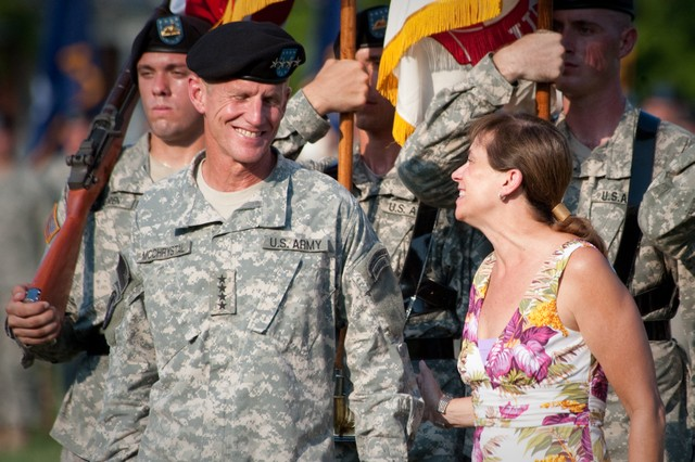 Annie McChrystal and her husband, Gen. Stanley A. McChrystal, during his retirement ceremony at Fort McNair in Washington, D.C., July 23, 2010. McChrystal  retired from the U.S. Army after 34 years of service to his nation during both peace and war time.