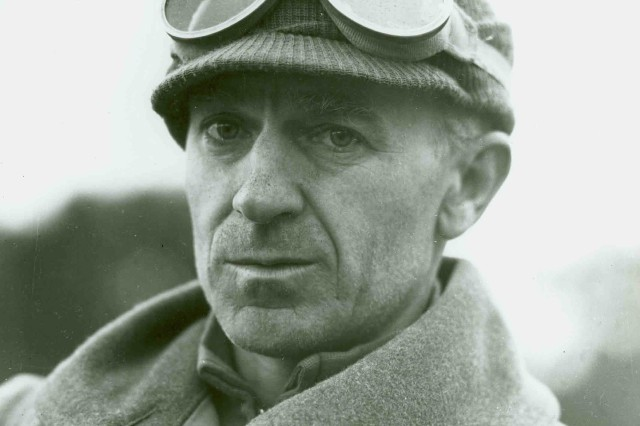 """Telling It as He Saw It! This image shows Ernie Pyle, an American war correspondent. The image depicts Pyle when he was in Italy at the Anzio beachhead, March 18, 1944. Ernie Pyle was killed on April 18, 1945 while reporting on the combat on  Ie Shima, an island off Okinawa.  A monument to Pyle was erected at the site and reads """"At this spot the 77th Infantry Division lost a buddy, Ernie Pyle, 18 April 1945."""" (Personality Photograph Collection)."""