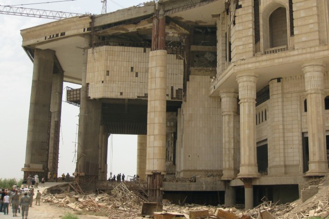 An external view of the Victory Over America Palace in Baghdad, Iraq, May 24, 2009.