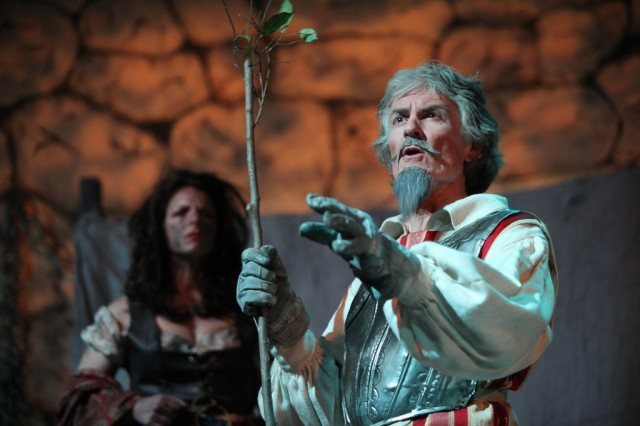 Lori Parsons as Aldonza, and Ron Paoletti as Cervantes/Don Quixote, perform in the spring production of Man of La Mancha at the Stuttgart Theatre center.