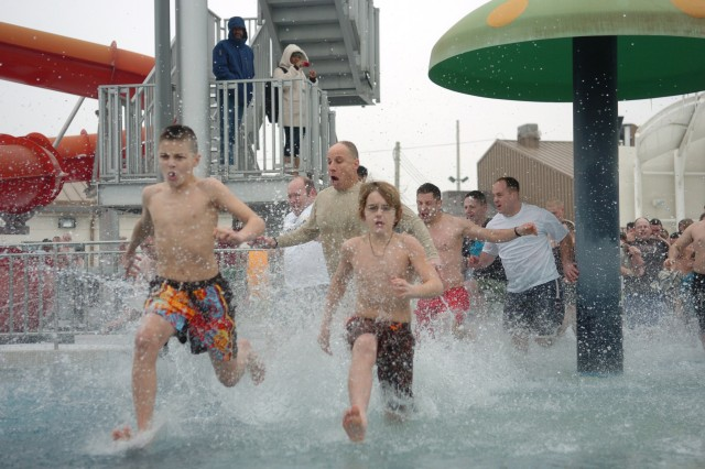 The conditions were just right for Camp Humphreys' 2nd annual Polar Bear swim Jan. 9: 25 degrees F outdoor temperature and more than 175 people anxious to plunge into the frigid water at Splish and Splash Water Park.