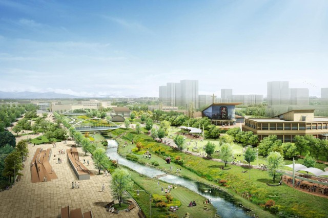 The planners of the new U.S. Army Garrison Humphreys complex in South Korea took pains to provide plenty of green space as well as a waterfront area that will invite servicemembers and their Families outdoors.