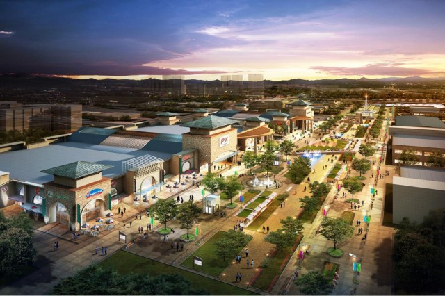 The new downtown area of U.S. Army Garrison Humphreys, South Korea, will include a variety of Family-friendly services and amenities.