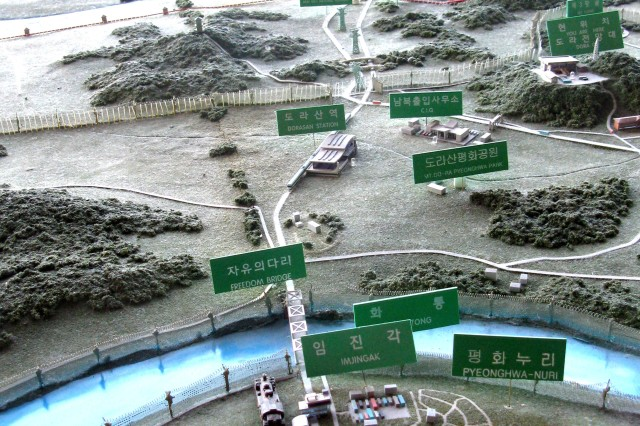 A topographical display near the western transportation corridor across the Korean demilitarized zone shows the route to the Kaesong Industrial Park.