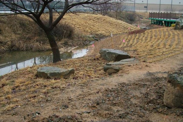 Located just inside the main gate of USAG Daegu's Camp Carroll, the first-ever wetland/stream restoration, enhancement and wetland creation project in Korea by the U.S. Army spans approximately 1,600 feet.