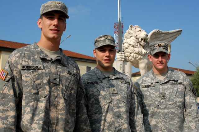 VICENZA, Italy (July 7, 2010) - West Point Cadets Andrew Rodriguez (left to right), Ryan Moschitto and Brian Asman pose for a photo in front of U.S. Army Africa headquarters at Camerma Ederle, Vicenza, Italy, this month. The trio were part of a U.S. Military Academy cadre who completed Academic Individual Advanced Development at the headquarters through contributing their hands-on analysis and recommendations to Army Africa database evolution.