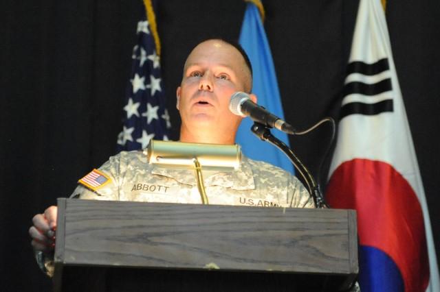 Command Sgt. Maj. David R. Abbott, command sergeant major of Installation Management Command Korea, spoke at the induction ceremony on Yongsan Garrison July 28.