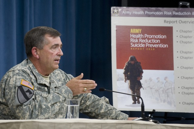 Vice Chief of Staff of the Army Gen. Peter Chiarelli discusses the Army's Health Promotion, Risk Reduction, and Suicide Prevention Report during a press conference at the Pentagon July 29, 2010.  The report was a 15-month focused effort to better understand the increasing rate of suicides in the force.