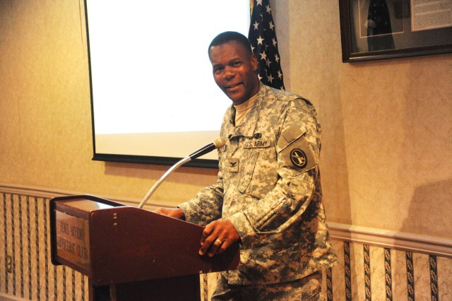 Col. Carlen Chestang, Jr., chief of staff, Joint Force Headquarters National Capital Region and The U. S. Army Military District of Washington, gives the welcome remarks at the Resource Management Conference on July 29, 2010 at the Fort Myer Officers Club.