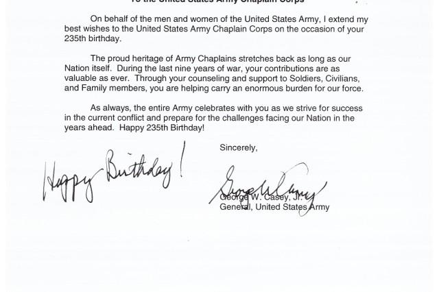 CSA Army Chaplain Birthday message