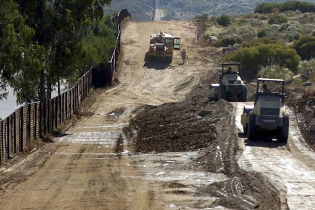 FORT BLISS, Texas - Soldiers from the 82nd Engineer Support Company, 65th Engineer Battalion, use their engineering skills to repair and upgrade 3.5 miles of border road used by U.S. Border Patrol agents near the Tecate Port of Entry, located southeast of San Diego.