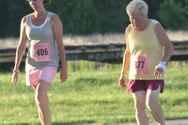 Betty Severson competes in the 25th annual 10-5-2 Prairie Run July 24 at Fort Riley, Kan. Severson won her age category in the 5-mile race.