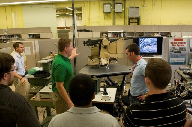 Summer interns saw first-hand the range of work performed at Picatinny Arsenal during an installation tour July 13.