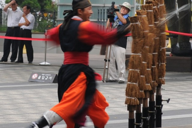Senior American military leaders watched a traditional Korean sword dance July 30 on Namsan Mountain in Seoul.