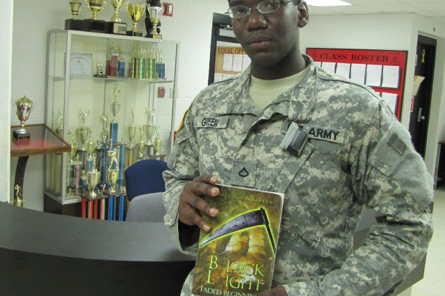 """Pvt. Malcolm R. Green is also author Malcolm R. Green as his first book comes up on its one-year publishing anniversary. """"Black Light: Faded Beginnings"""" was published on Sept. 12, 2009, his second day in basic training."""