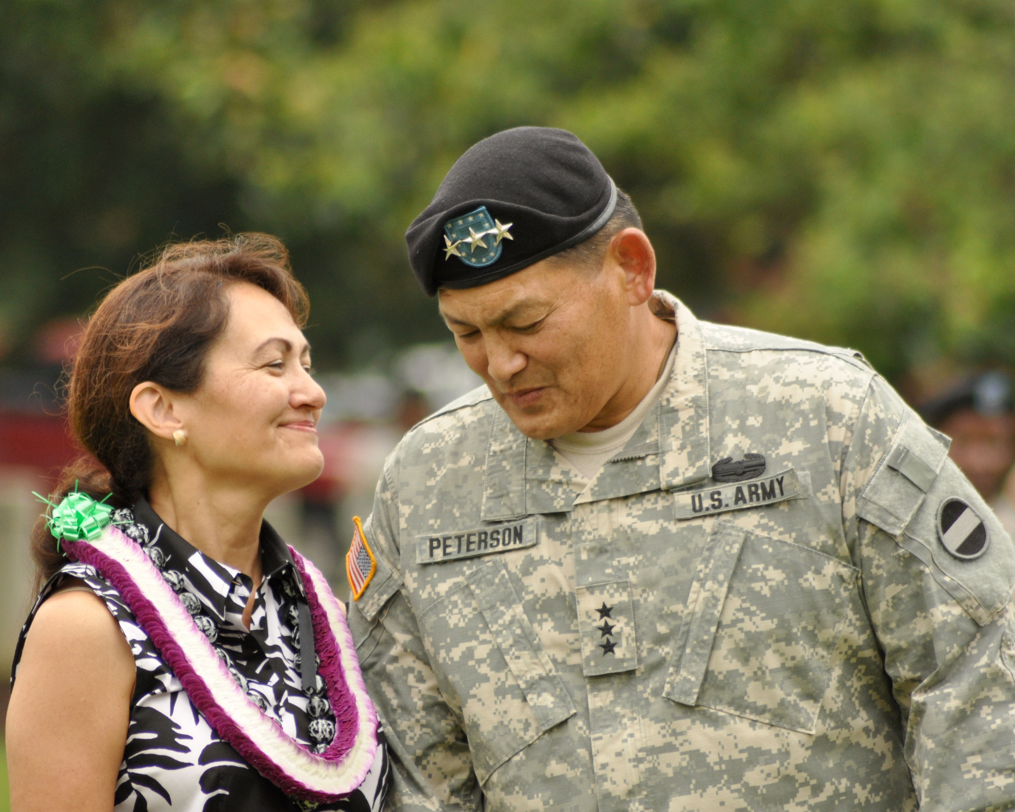 Army color casing ceremony script - Joseph F Peterson And His Wife Ann Exchange Gestures With Each Other During An Instrumental Performance By The Army Ground Forces Band Of Aloha Oe