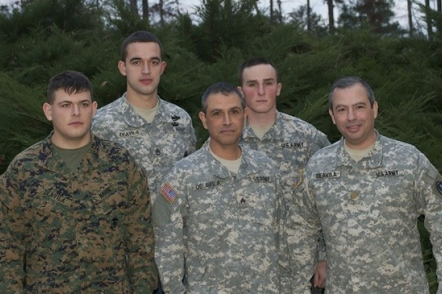 "From left to right, U.S. Marine Lance Cpl. Gerardo ""Josh"" DeAvila; Josh's cousin U.S. Army Staff Sgt. David DeAvila; Josh's father, Georgia National Gaurdsman Sgt. Jerry DeAvila; Josh's Brother-in-Law U.S. Army Spc. Josh Head (also in Afghanistan); and Josh's uncle U.S. Army Maj. David DeAvila."
