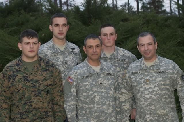 "From left to right, U.S. Marine Lance Cpl. Gerardo ""Josh"" DeAvila; Josh's cousin U.S. Army Staff Sgt. David DeAvila; Josh's father, Georgia National Gaurdsman Sgt. Jerry DeAvila; Josh's Brother-in-Law U.S. Army Spc. Josh Head (also in Afghanistan); and Josh's uncle U.S. Army Maj. David DeAvila."