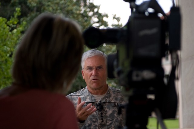 Chief of Staff of the Army Gen. George W. Casey Jr. addresses questions during a press conference at Fort Benning, Ga., Aug. 2, 2010.