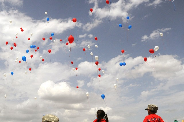 At the 2010 TAPS Fort Hood Military Survivor Seminar and Good Grief Camp, the children of survivors and their Soldier-Mentors walked out to a field to release balloons with messages to their loved ones lost.