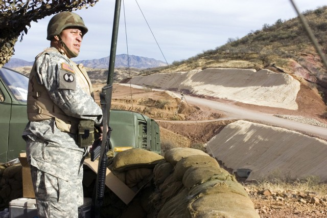 An Army National Guard soldier works as a member of an entry identification team watching the U.S./Mexico border near Nogales, Ariz., during Operation Jump Start on Jan. 17, 2007. EITs will also support Customs and Border Protection to secure the border during the new border mission, which kicked off Aug. 1, 2010.