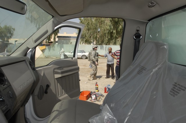 The view from inside the cab of one of the two mobile health and dental clinics the Ministry of Health for Abu Ghraib received from 4th Stryker Brigade Combat Team, 2nd Infantry Division Soldiers July 26, 2010.