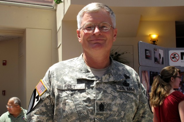 Command Sergeant Major Donald Felt donated a unit of blood in front of 400 troops to challenge them to do the same. August 3, 2010 at Fort Hood, Texas.