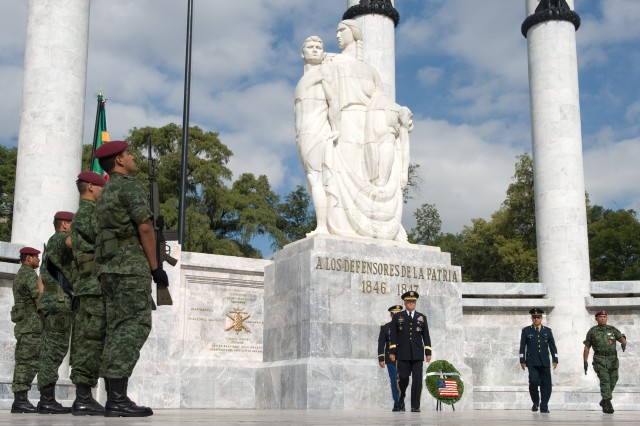 Chief of Staff of the Army, Gen. George W. Casey Jr., participates in a Wreath Laying ceremony at Ninos Heros Monument in Mexico City, Mexico, Aug. 4, 2010.  The monument honors six young Soldiers that died defending Chapultepec Castle from U.S. forces in the War of 1847.