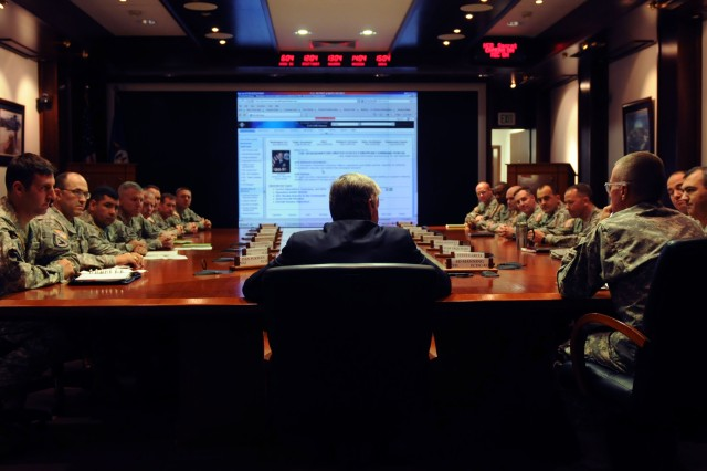 Army Secretary John McHugh hosts a sensing session with junior field-grade officers, Tuesday, July 27, 2010 at Kelley Barracks, Stuttgart, Germany.  U.S. Army photo by Staff Sgt. Matthew Clifton.