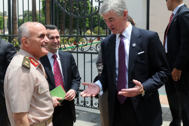 Egyptian Assistant Defense Minister Maj. Gen. Mohamed Said Mohamed El Assar and Army Secretary John McHugh speak during McHugh's visit to Cairo, Egypt, Sunday, August 1, 2010.  U.S. Army photo by Staff Sgt. Matthew Clifton.