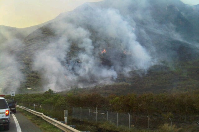 An unexpected wildfire started at Makua Military Reservation, July 24, burning 486 acres and impacting three endangered plant species. Crews from the Federal Fire Department, Honolulu Fire Department, the state's Division of Forestry, Army Wildland Fire, and the Oahu Army Natural Resources Program joined forces to fight the fire.
