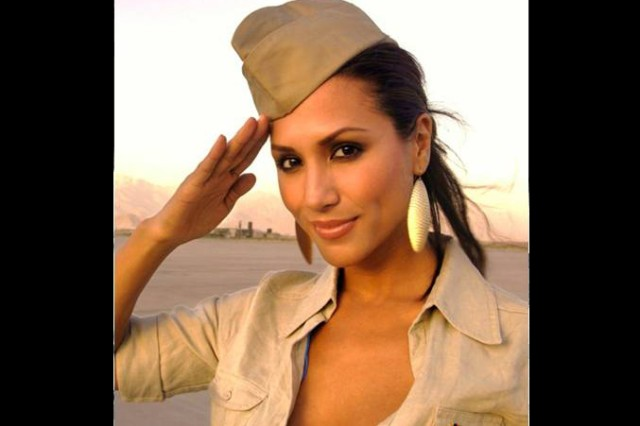 Leeann Tweedden, author of the most recent 'Letter from Hollywood,' stops to salute the troops while on visit in this undated photo.
