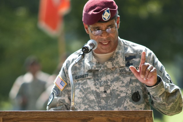 Brig. Gen. Michael Garrett, XVIII Airborne Corps and Fort Bragg chief of staff, speaks to audience during his welcoming ceremony,  Aug. 5.