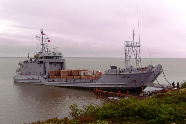 USAV Palo Alto arrives from Bethel, Alaska, with a load of Durabase mats, used to build a road across the tundra at Camp Mertarvik. Each mat weighs more than 1,000 pounds.