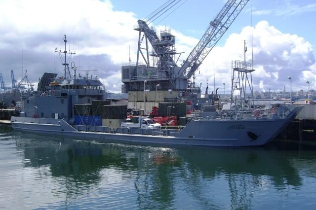 The U.S.Army Vessel Palo Alto loaded in Tacoma, Wash., preparing to sail for Bethel, Alaska.