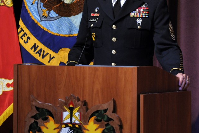 """Command Sgt. Maj. Raymond Chandler, United States Army Sergeants Major Academy commandant, gives an opening speech at a Hall of Honor Ceremony Aug. 12 in USASMA's East Auditorium."""""""
