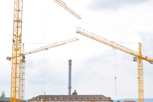 Cranes tower over the site of U.S. Army Europe's new Command and Battle Center on Wiesbaden Army Airfield.