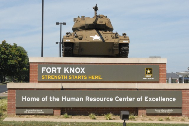 Visitors to Fort Knox will the tank -- an acknowledgement of the post\'s past -- as well as the new colors and logo of the present located at Chaffee Gate.