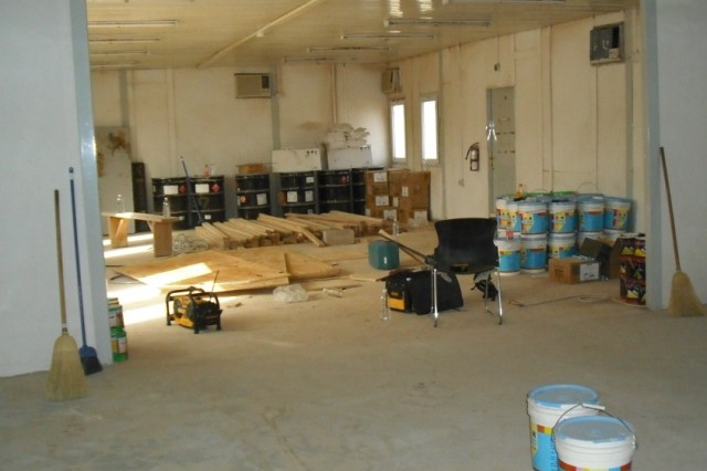 CONTINGENCY OPERATING BASE, Iraq-A raw building prepares to be transformed into Fiddler's Green, the TF Blackjack MWR facility.