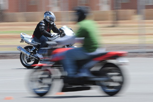 SCHOFIELD BARRACKS, Hawaii - A student at the motorcycle safety course, practices the quick-stop portion of the class, recently.