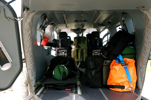 The rear bay of the U. S. Army's Light Utility Helicopter 72 (LUH72) has a maximum payload of 1790 kg. It can also carry a maximum under slung load of 1500 kg. It has a crew of two personnel and can accommodate up to 8 troops without medical stretchers. This LUH 72 is equipped as a medical transport with can hold two stretchers and medic. Stationed here at Grafenwoehr, Germany from the 121 MEDICAL Company (Air Ambulance) Washington, D.C. Army National Guard with it's deployed crew. This is the first time that the LUH72 is being used in Europe by the U. S. Army.